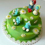 2patrový dort šmoulové