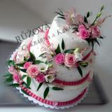 3patrový dort s růžemi